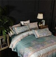 4pcs Green gray egyptian cotton Duvet Cover Set Pillowcase Comforter Cover Bedding Set printing Design Boho Queen King Size