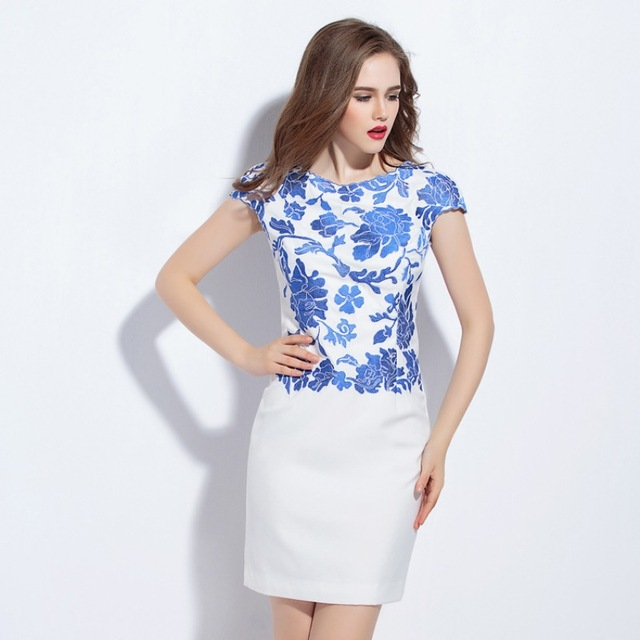 741fe8b7ecf woman Pencil dress summer 2018 new spring embroidery flower elegant Party  Dress S XXXL size Work Clothing vintage dresses