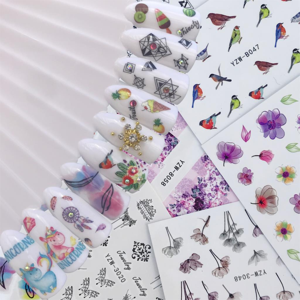 WUF 10 Styles For Choose Flower Bird Negative Space Necklace Pattern Nail Art Water Transfer Sticker Decals DIY Tips
