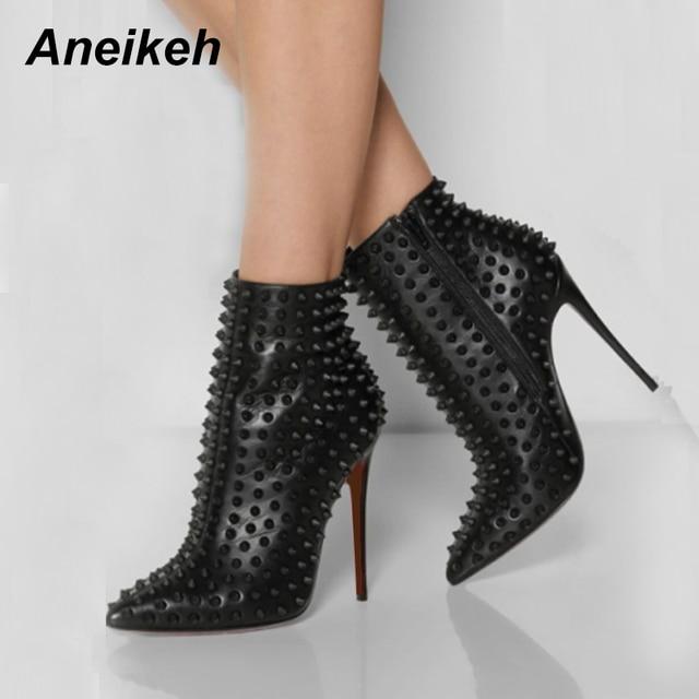 Aneikeh женские ботильоны модная обувь с заклепками новые сапоги на высоком  каблуке с заостренным носком af32334f55b