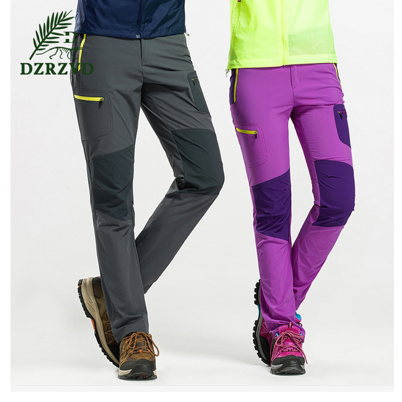 ФОТО Free Shipping DZRZVD Outdoor Elastic Quick dry Pants Men Women Breathable Hiking Sports Camping Pants 4XL