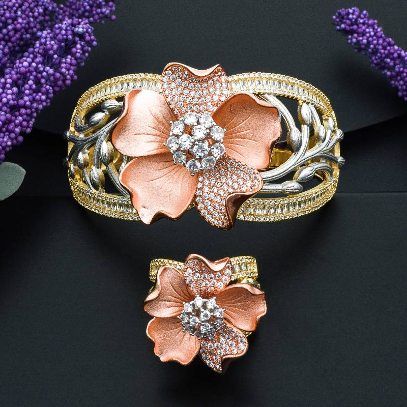 ModemAngel Big Blooming Flower 3 Tone Copper Bangle And Ring Set for Girls And Women High Quality Accessory Statement JewelryModemAngel Big Blooming Flower 3 Tone Copper Bangle And Ring Set for Girls And Women High Quality Accessory Statement Jewelry