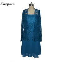 Elegant Blue Plus Size Mother of the Bride Dresses Lace Chiffon Long Sleeves Chiffon Groom's Party Evening Gowns 2018 Jacket