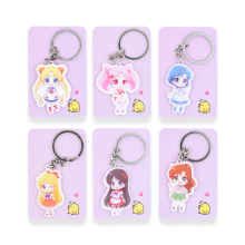 6PCS lot Sailor Moon Keychain Keyrings Fashion Jewelry Key Chain Hot Sale Custom made Game Key