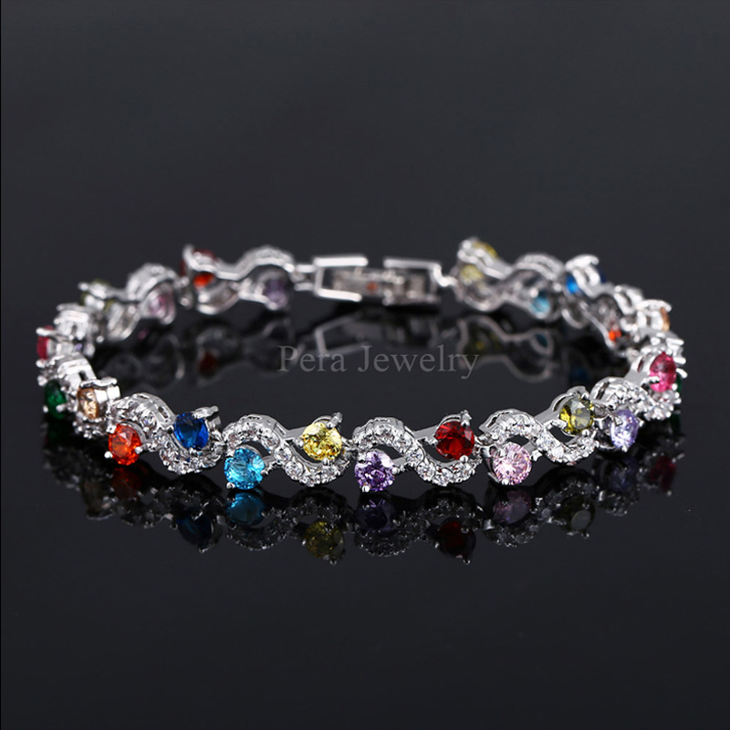 Pera 5 Color Options Fashion Ladies Sterling Silver Cubic Zirconia Royal Blue Stone Bracelets Jewelry For Christmas Gift B017 4