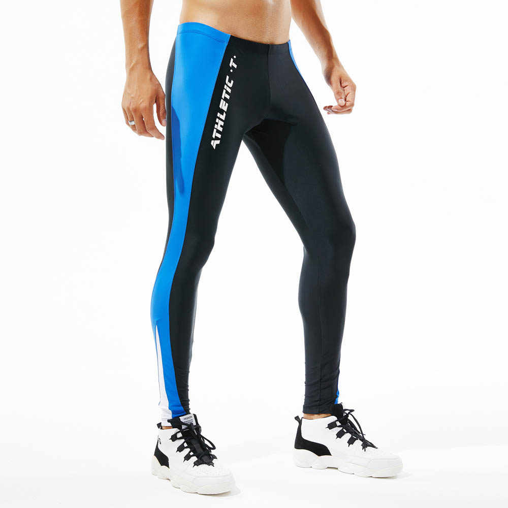 bbf9bfe4ed ... Yehan Running Tights Men High Stretchy Compression Leggings Side  Patchwork Sportswear Yoga Trousers Low Rise Fitness ...