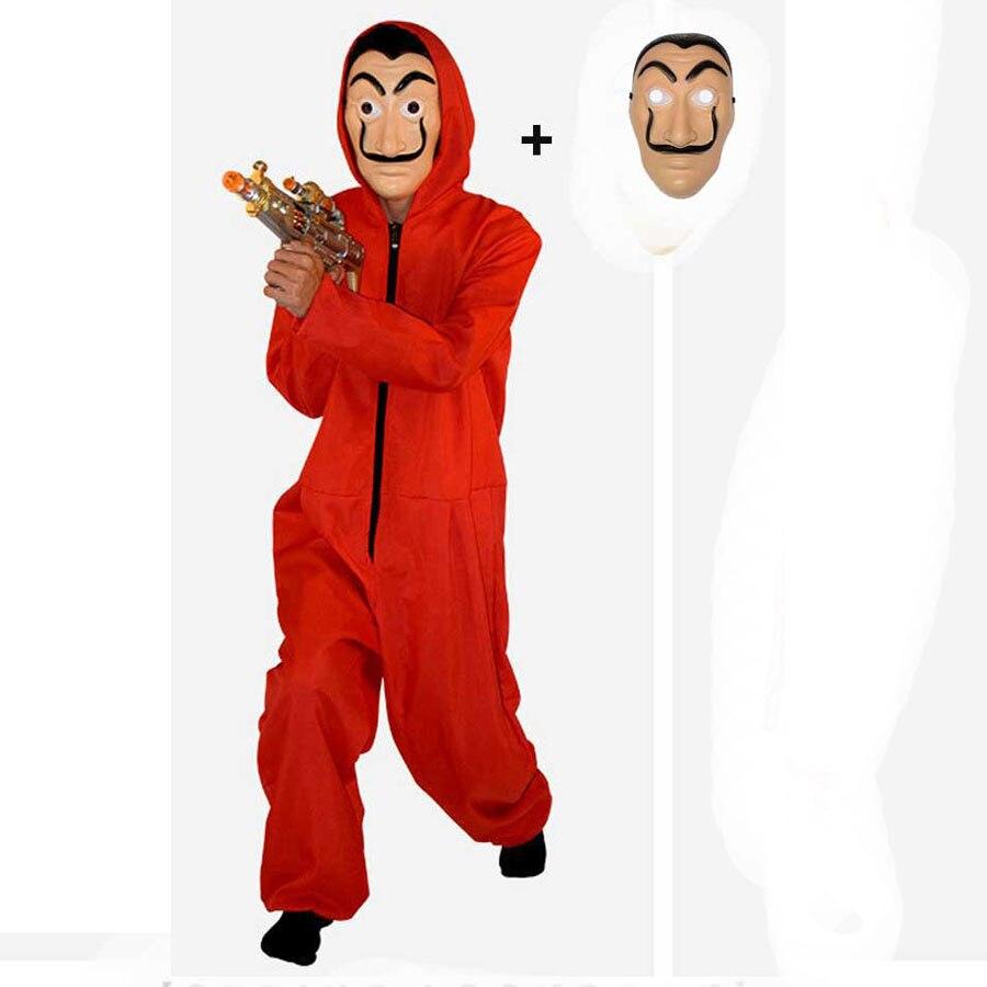 Kids Adult Salvador Dali Costume Mask Money Heist The House of Paper La Casa De Papel Cosplay Costume Boys Men Jumpsuit