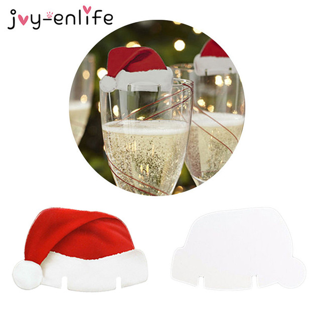 4c581a29382c5 JOY-ENLIFE Nice Christmas Decorations For Home 10pcs Table Place Cards Christmas  Santa Hat Wine