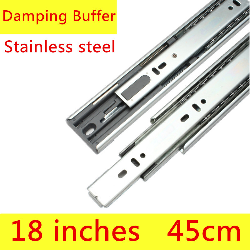 2 pairs 18 inches 45cm Stainless Steel Three Sections Drawer Track Slide Furniture Slide with Damping Furntion Guide Rail damping drawer slide rail track three cushion slide rails jumbo slide e1504