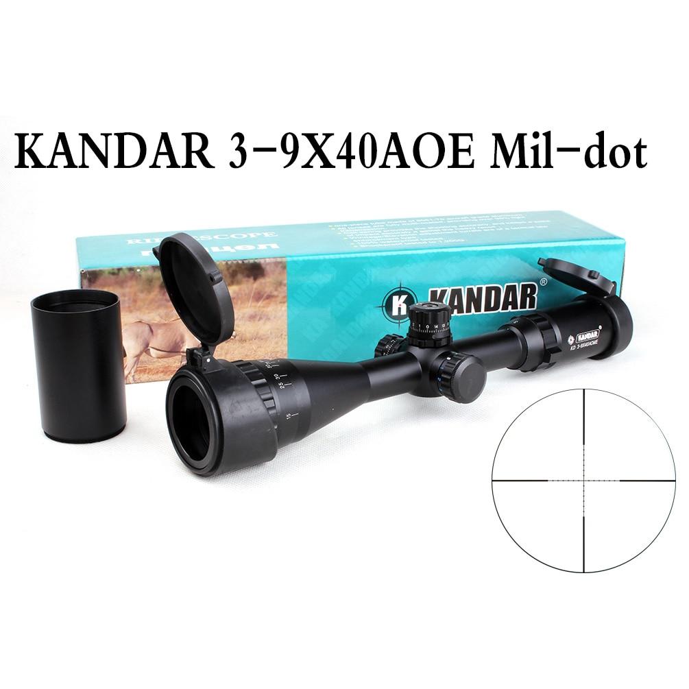 Tactical Optical Sight KANDAR 3-9x40 AOE Mil-dot Reticle RifleScope Locking/Resetting Hunting Rifle Scope 4 16x44 aoe tactical optical sight riflescope mil dot hunting rifle scope with sunshade