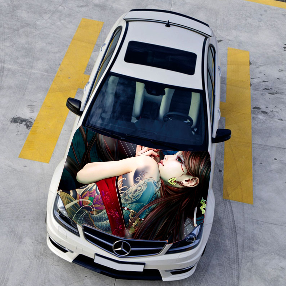 Auto vinyl funny car stickers animation game tattoo sexy girls car hood sticker hd waterproof printing sticker car roof stickers in car stickers from