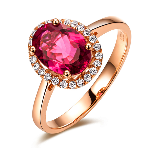 ZOCAI ZODIAC GEM FIRE SIGNS CELEBRITY NATURAL 1.43CT RUBELLITE RED TOURMALINE DIAMOND COCKTAIL RING 18K ROSE GOLD W03412