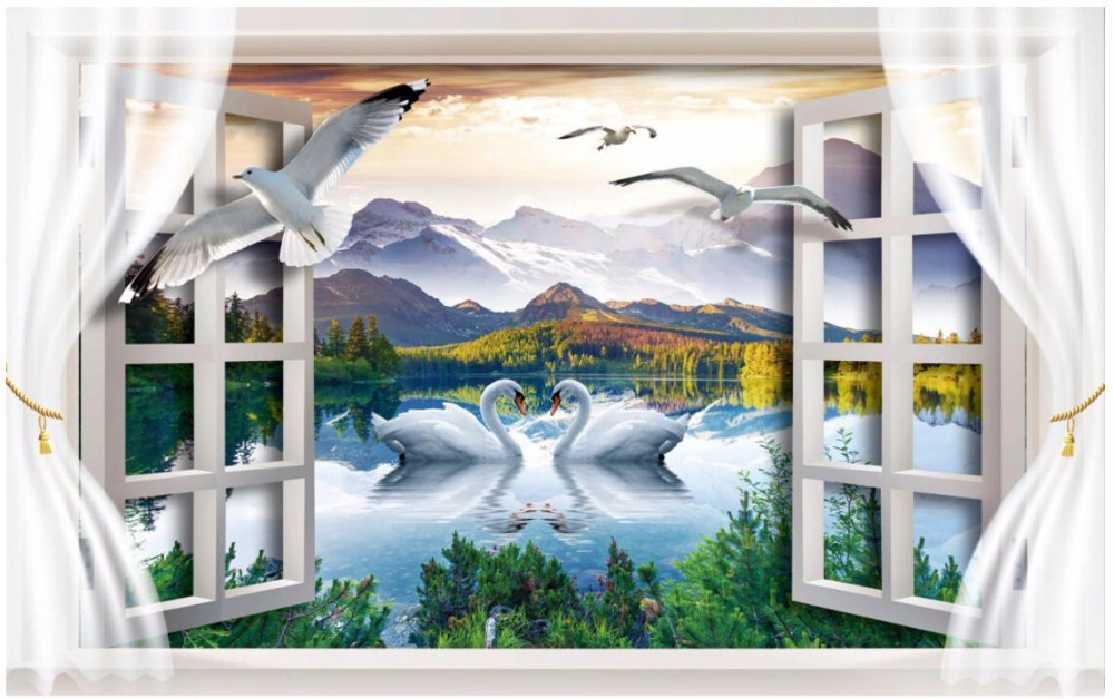 Custom 3d Mural Wallpapers Hd Landscape Mountains Lake: Custom Photo 3d Room Wallpaper Non Woven Mural Swan Lake