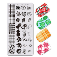 BeautyBigBang 1PC Stamping For Nails DIY Flower Leaf Nature Geometry Plaid Design Nail Plates Template Art XL-062