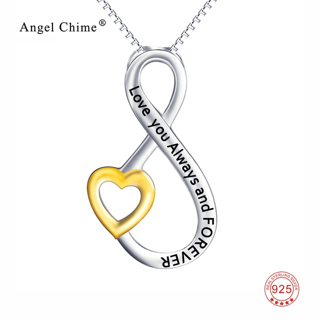 18c2a20c2 925 Sterling Silver Love You Always and Forever Lettered Statement Necklace  Love Infinity Lover Pendant Necklace For Women