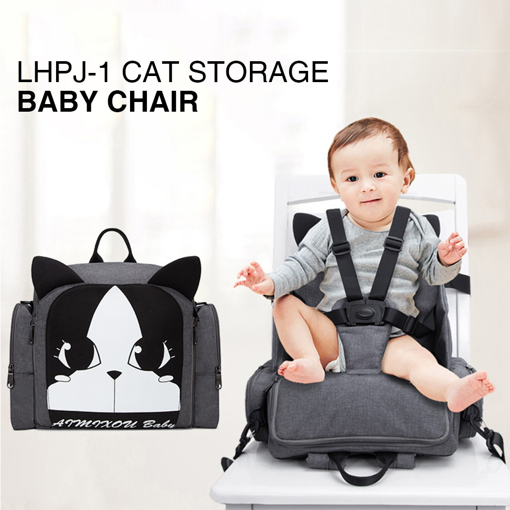 Portable Baby Dining Chair Cartoon Mommy Bag Multifunction Diaper Backpack Children Safety Belt Booster Seat Baby Eating Chair