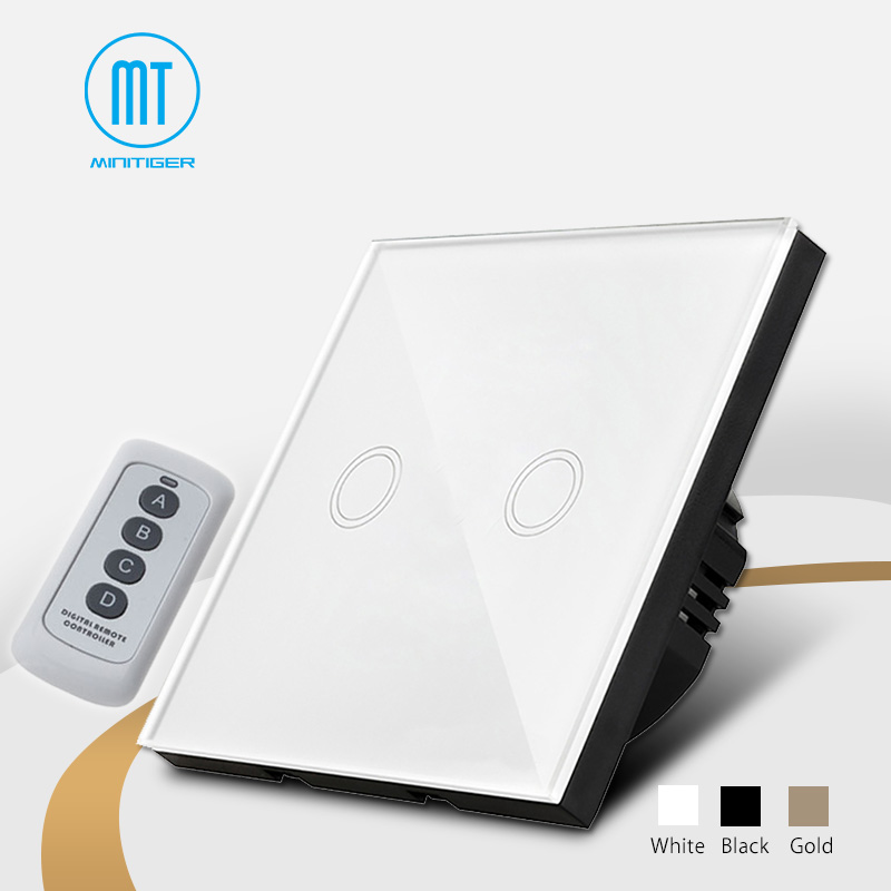 MiniTiger Crystal Glass Panel Touch Switch, EU Standard, 2 Gang 1 Way Remote Control Light Switch,Wall Switch, Touch Switch копилка керамика ручной работы мопс 26 см х 21 см х 20 см