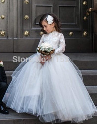 Long Sleeves White Lace Flower Girls Dresses For Weddings Ball Gown O Neck Puffy Tulle Princess First Communion Dress Birthday