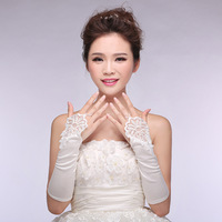 Fredd Shipping New Korean Bride Wedding Gloves Bridal Lace Chiffon Short Paragraph Spring Wedding Gloves White