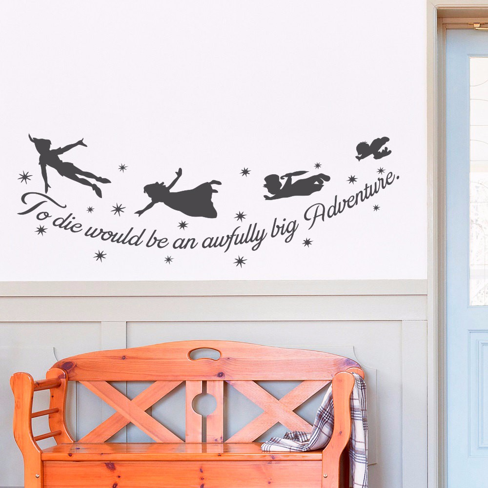 Peter pan quote to die would be an awfully big adventure jm peter pan quote to die would be an awfully big adventure jmrrie vinyl wall decal peter pan nursery kids room home decor in wall stickers from home amipublicfo Gallery