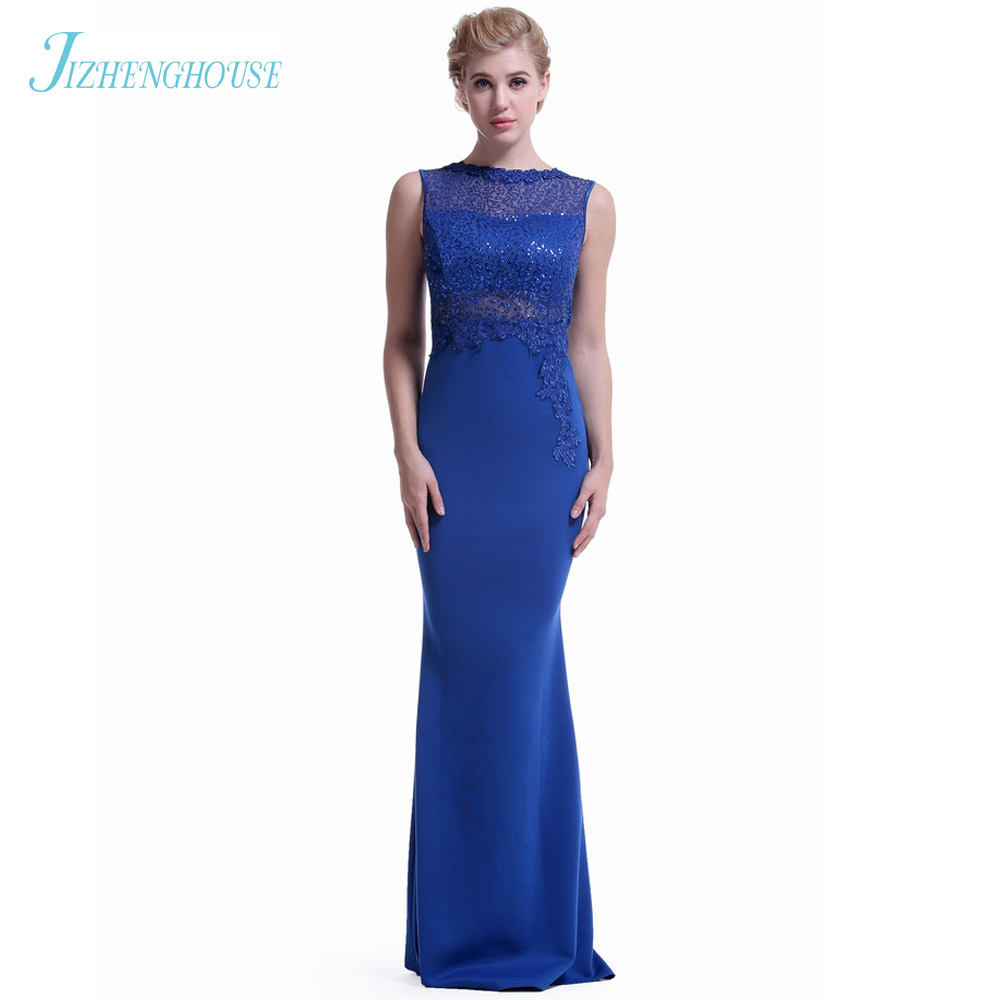 JIZHENGHOUSE Blue Color Floor Lenght Elegant Womens Elegant Sleeveless Mermaid Long Party Dress