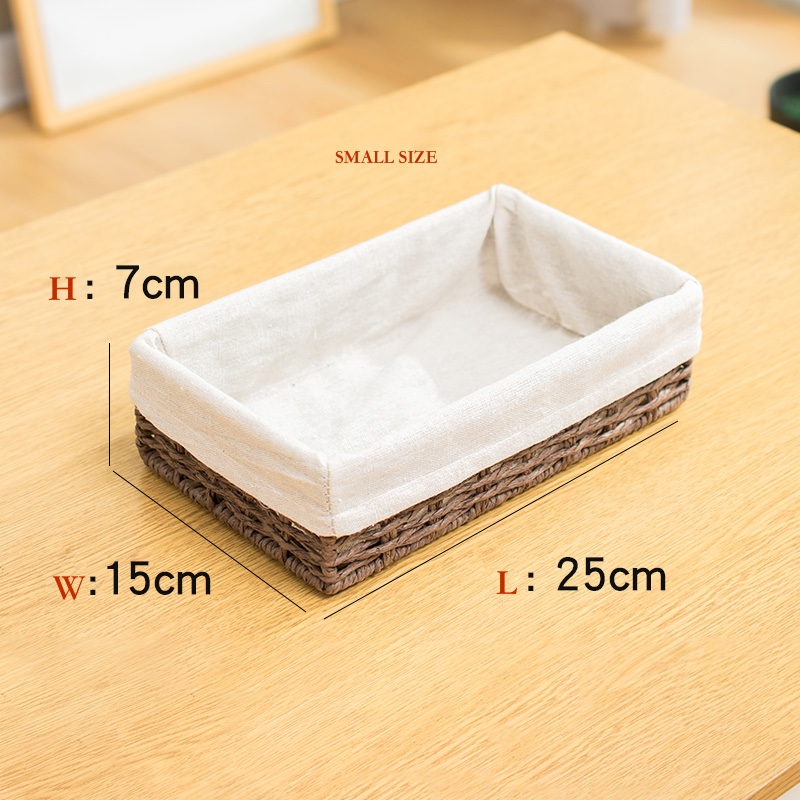 Book shelf storage basket straw baskets storage rattan woven key table small storage boxes 7cm height for living room household in Home Office Storage from Home Garden