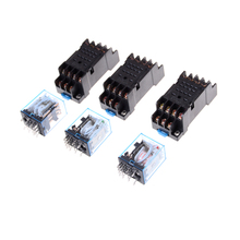 цена на 1set MY4NJ Electronic Micro Relay 4NO 4NC LED Indicator Power Relay DIN Rail 14 Pin Mini relay with Socket DC12V 24V AC220V