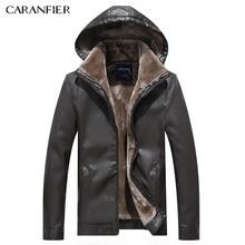 CARANFIER Men Fashion font b Leather b font font b Jacket b font Hat Detachable Slim
