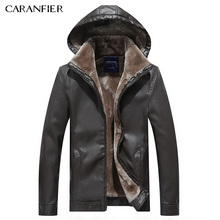 CARANFIER Men Fashion Leather Jacket Hat Detachable Slim Thick WInter Male Motorcycle Rider Businessmen Style M~3XL