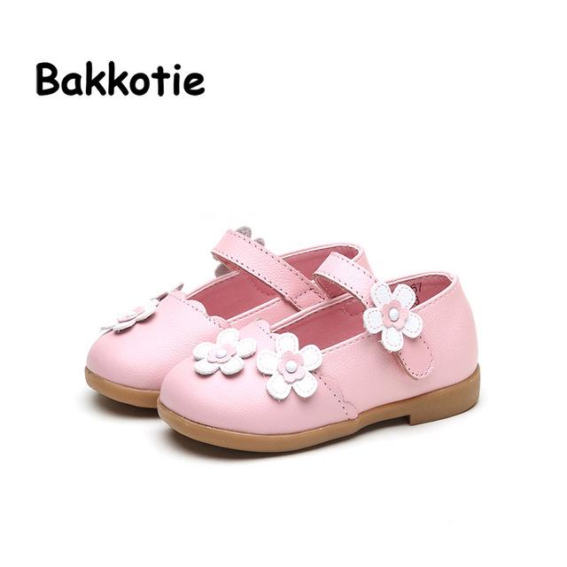 Bakkotie 2017 Mary Jane Do Bebê Primavera Outono Menina Moda PU de Couro Liso Princesa Kid Marca Crianças Flor Sapato Conforto Criança