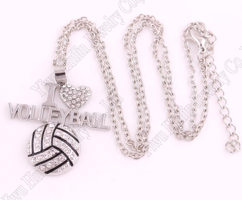 """Прямая 1.""""* 1.3"""" дюймов мода подарок кристалл я люблю волейбол 2D кулон цепочка Цепочки и ожерелья Вентиляторы любимые украшения"""