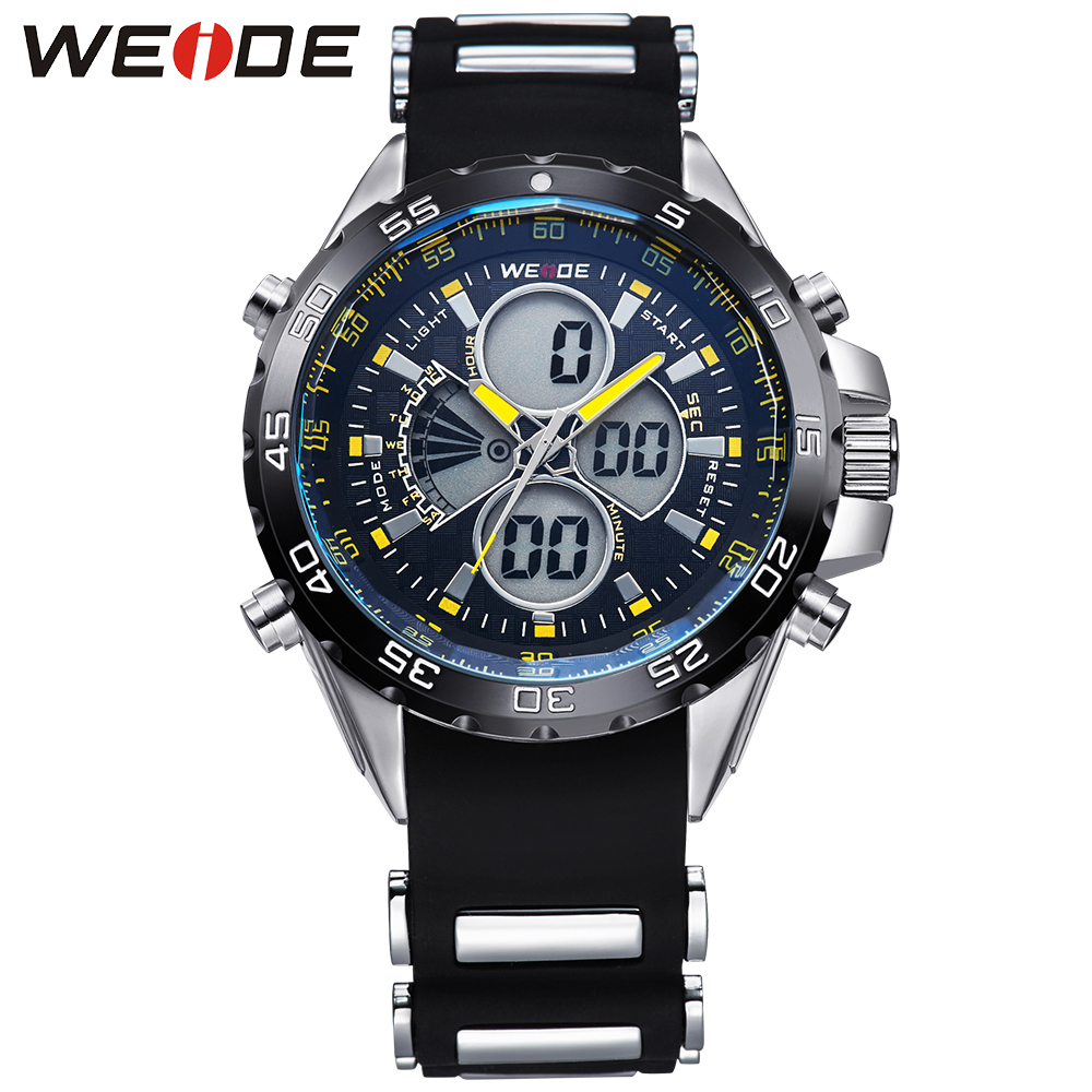 ФОТО WEIDE  Mens Analog Digital Watches Stainless Steel Back 3ATM Water Resistant Round Case Quartz Movement Relogio Masculino