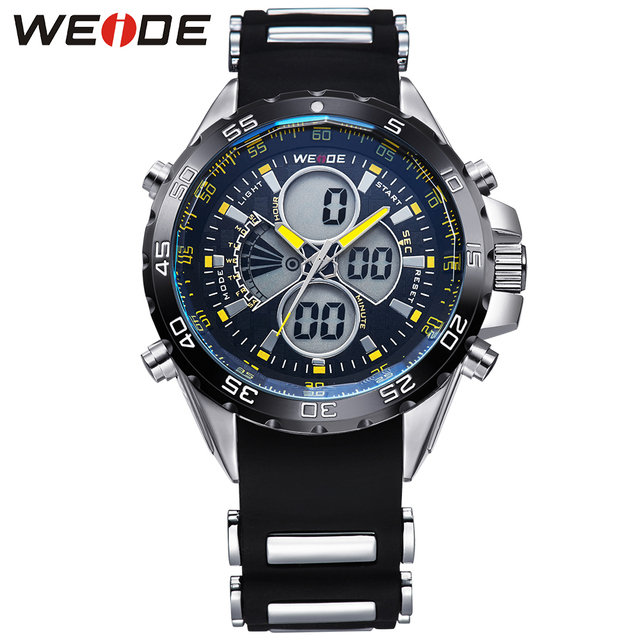13ab88f580b WEIDE Brand Mens Analog Digital Watches Stainless Steel Back 3ATM Water  Resistant Round Case Quartz Movement
