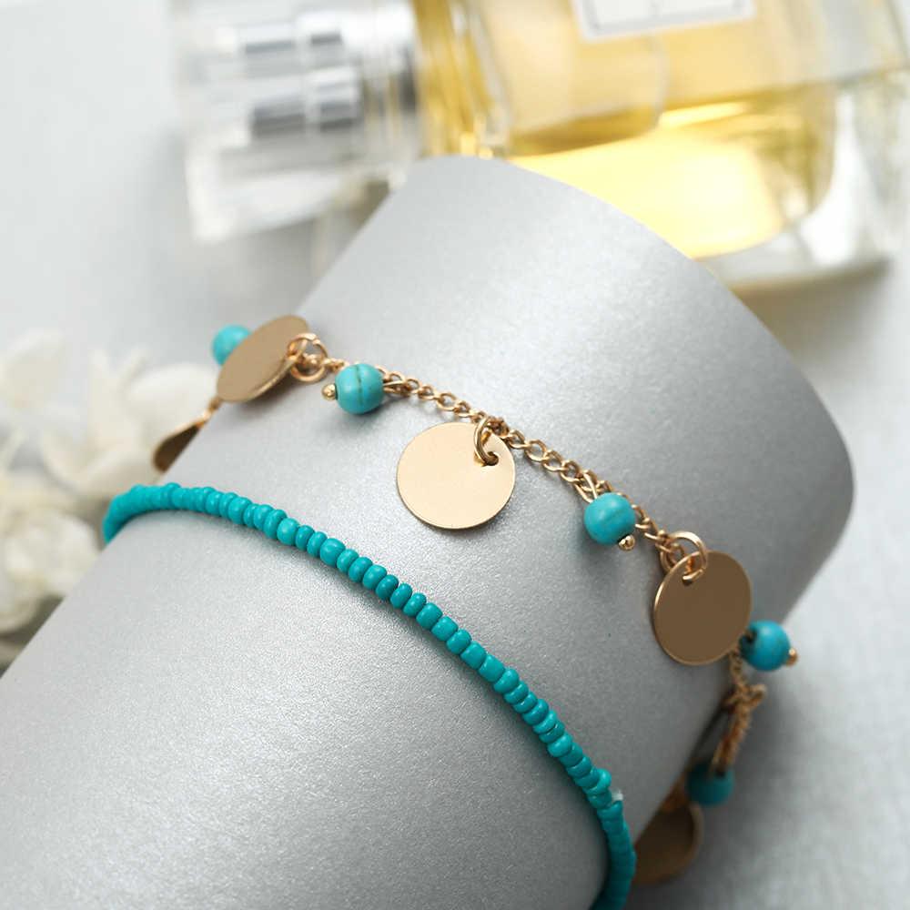 Lato gorąca sprzedaż styl Boho zestaw bransoletek Boho Charm Pulseras prosta bransoletka z kamienia naturalnego dla kobiet srebrny złoty miłość łańcuszek
