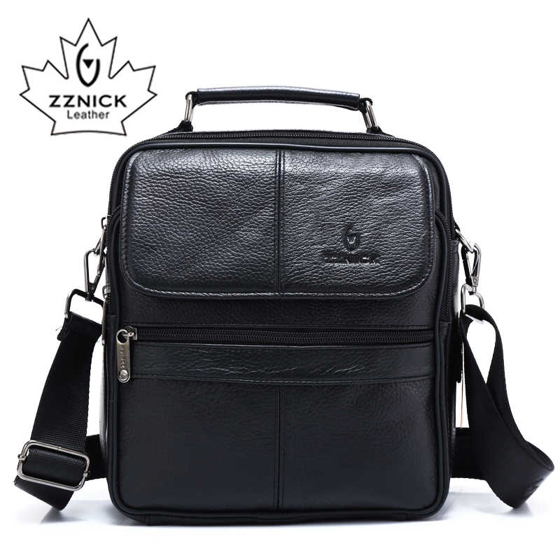 ZZNICK 2018 Genuine Cowhide Leather Shoulder Bag Small Messenger Bags Men Travel Crossbody Bag Handbags New Fashion Men Bag