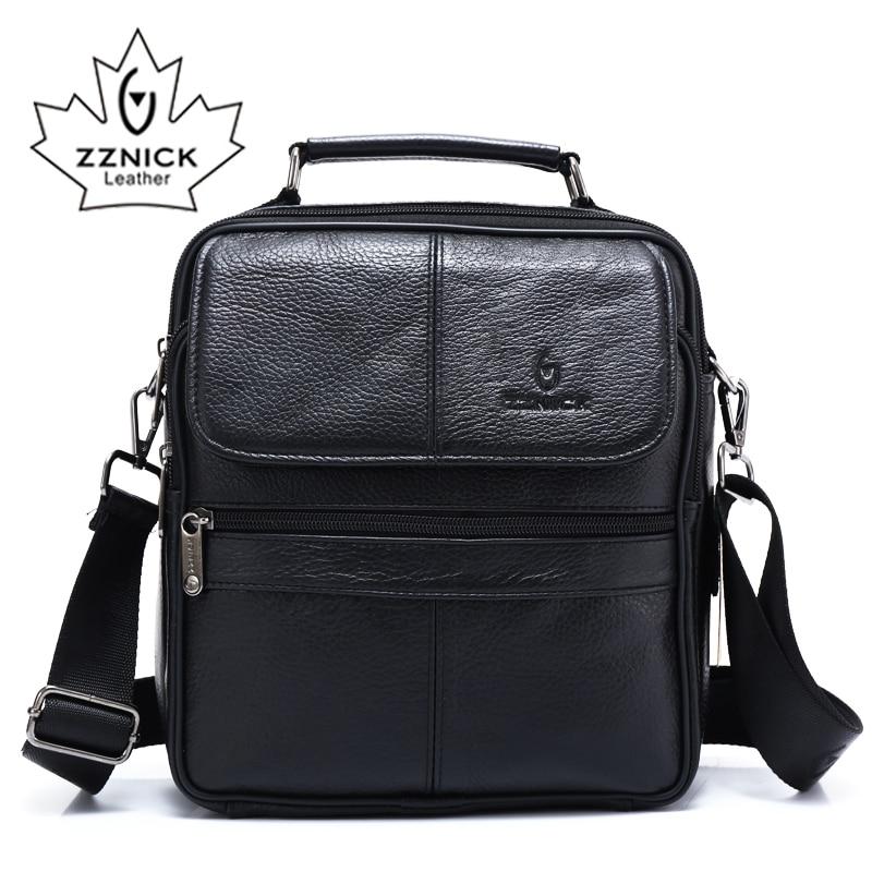 ZZNICK 2018 Genuine Cowhide Leather Shoulder Bag Small Messenger Bags Men Travel Crossbody Bag Handbags New Fashion Men Bag