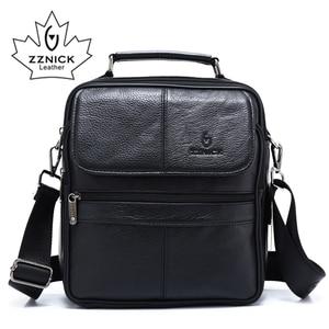 Image 1 - ZZNICK 2018 Genuine Cowhide Leather Shoulder Bag Small Messenger Bags Men Travel Crossbody Bag Handbags New Fashion Men Bag