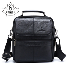 ZZNICK 2018 hakiki inek derisi deri omuzdan askili çanta küçük postacı çantası erkek seyahat Crossbody çanta çanta yeni moda erkek çantası
