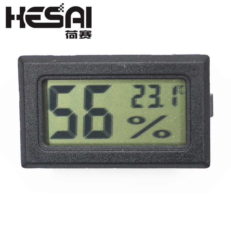 Nutika elektroonika must mini-digitaalne LCD-siseruumide õhuniiskuse arvesti termomeetri hügromeetri gabariit