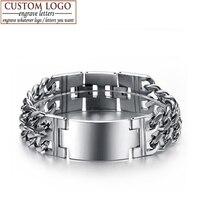 Stainless Steel Bracelets Bangles 18K White Gold Plated Men Jewelry Wristband Men S Bracelet Engrave Bracelet