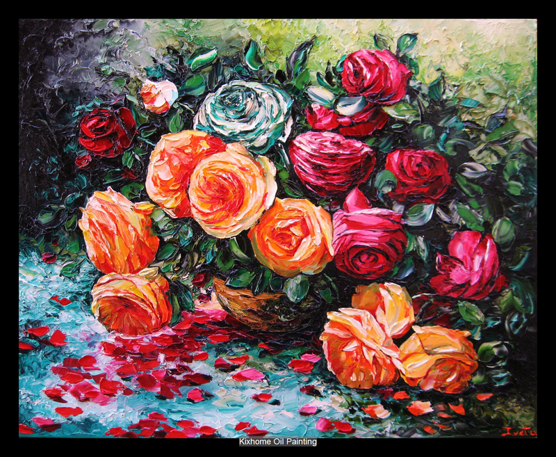 Popular oil wall arts Red Roses flowers by Thick palette knife texture oil paintings on canvas ...