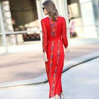 2019 Women Dresses Embroidered Real silk Long Pleated dress Red Bohemian Dress vestidos casuais
