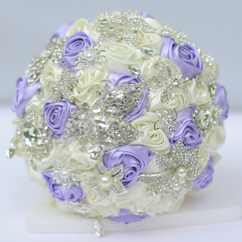 8-inch custom bridal bouquet,Korean bridal bouquet, rhinestone brooch bouquet, purple + ivory wedding bridesmaid rose ball
