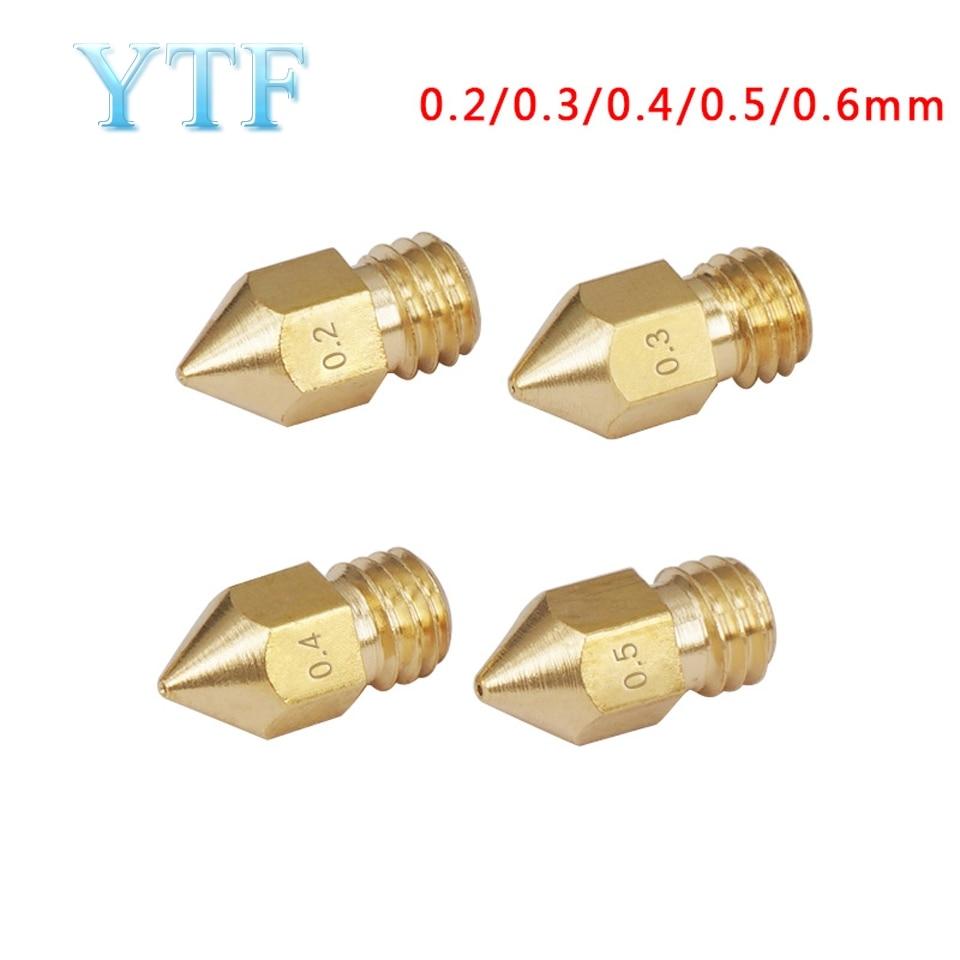 5pcs  MK7 MK8 Nozzle 0.2 0.3 0.4 0.5 0.6 0.8mm Copper  Extruder Threaded 1.75mm Filament Head Brass Nozzles 3D Printers Parts