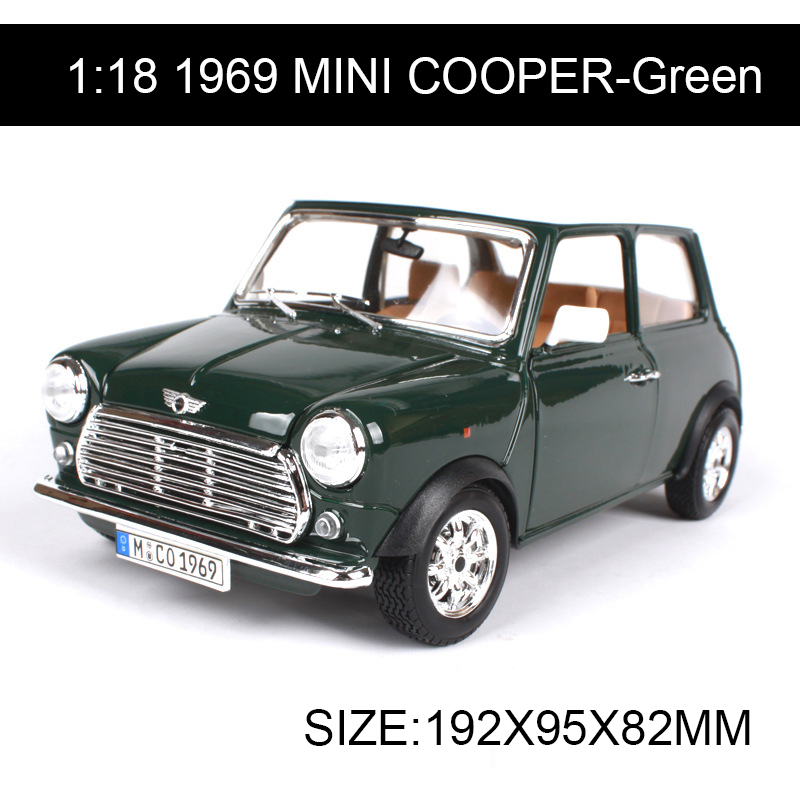 1:18 diecast Car 1969 MINI COOPER Classic Cars 1:18 Alloy Car Metal Vehicle Collectible Models toys For Gift Collection 1 18 scale maisto classic children 1956 chrysler 300b antique vintage car metal diecast vehicle gift model kids toys collectible