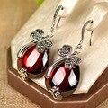 Verdadeiro 925 sterling silver vivid red stone cz libélula animal brincos para mulheres moda jóias aniversário da mãe presente