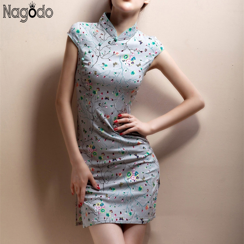 2015 nieuwe zomer retro oversize 5xl vestido chines qipao korte - Traditionele kleding