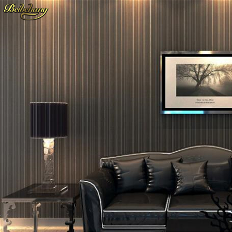 beibehang metallic textured feature vertical thin striped wall paper roll pvc vinyl wallpaper for living room papel de parede