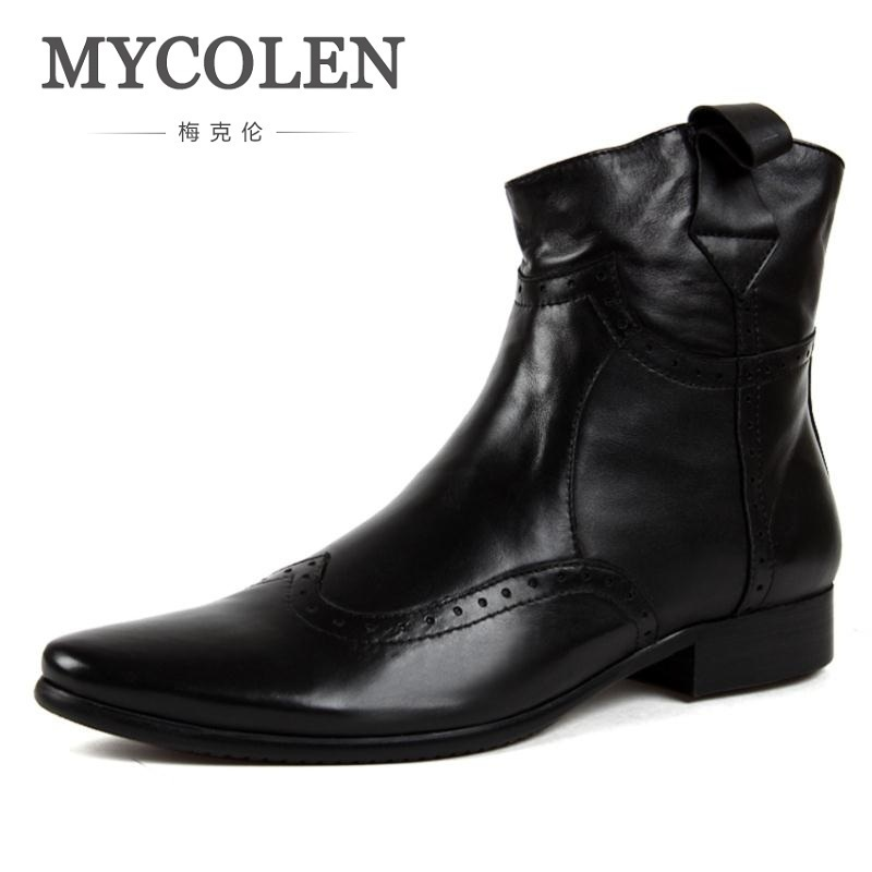 MYCOLEN Men Chelsea Boots Slip-On Winter Shoes Men High Quality Men Genuine Leather Casual High Riding Boots Work Dress Shoes branded men s penny loafes casual men s full grain leather emboss crocodile boat shoes slip on breathable moccasin driving shoes
