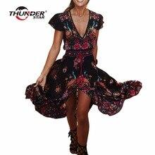Verão Mulheres Vestido Boho Étnico Sexy Imprimir Vestido Vintage Retro Borla Praia Vestido Bohemian Hippie Vestidos Robe Vestidos Mujer LX4